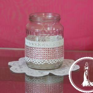 Csipkés strasszos befőttes üveg esküvői váza