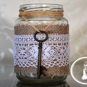 Vintage kulcsos befőttes üveg esküvői váza