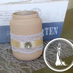 Festett rózsaszín mini esküvői váza